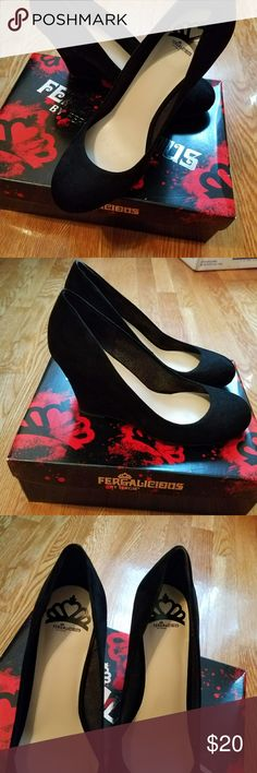 Wedge heels Worn once for a few hours for a party. Very comfortable,  look brand new. Will come with original box. Fergalicious Shoes Wedges