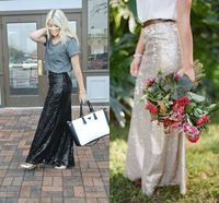 2015 New Hot Sale Sequined Lace Skirt High Fashion Women Long Skirts Maxi Long Shiny Skirt Floor Length Many Color To Choose