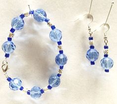 Chunky Beads Bracelet Earring Set Blue Jewelry Set Faceted