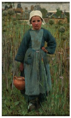 Peasant Girl Carrying a Jar, Quimperlé, France  George Clausen 1882