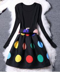 Women's Chic Belted Long Sleeve Scoop Neck Colorful Dress