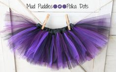 Halloween Witch Baby or Girls Satin Lined Tutu Skirt Black, Purple, Plum (Your choice of tulle color)- Mud Puddles and Polka Dots