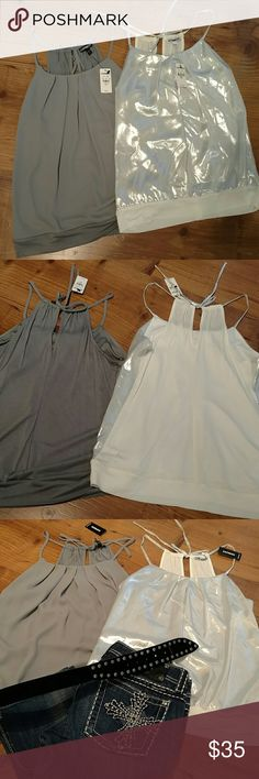 Two Womens Express Cami's One grey and one silver.  Both new with tags, never worn.   Downsizing and need to sell. Also selling the jeans and belt in the last pic in other listings. You can get all four items for $83. I bundle too!  Make me an offer. Thanks for looking!! Express Tops Camisoles