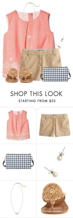 """I absolutely LOVE gingham"" by flroasburn ❤ liked on Polyvore featuring J.Crew, Tory Burch, Kendra Scott and Jack Rogers"