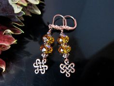 Copper and Topaz Swarovski Crystal Earrings by IBKcreations, $23.95