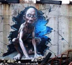 Gollum, street art by Smug One