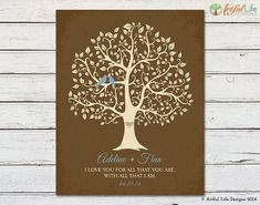 Love Birds Family Tree Art Personalized Gift by ArtfulLifeDesigns