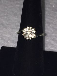 stunning 14k White gold diamond floral cluster ring. come check it out for more details!