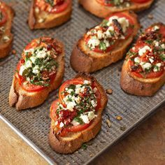 Tomato Recipes Two Tomato Bruschetta From Better Homes and Gardens, ideas and improvement projects for your home and garden plus recipes and entertaining ideas. - Two Tomato Bruschetta No Cook Appetizers, Appetizer Dishes, Healthy Appetizers, Appetizers For Party, Appetizer Recipes, Delicious Appetizers, Tomato Appetizers, Party Canapes, Cheese Appetizers