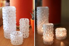 Oh, you have got to check out the DIY cut paper candle holder wraps over at How About Orange . Homemade Candle Holders, Glitter Candle Holders, Wood Candle Holders, Homemade Candles, Diy Candles, Candle Stand, Pot Mason Diy, Beautiful Candles, Diy Décoration