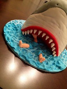 Jaws-inspired shark cake for my 8-year-old.