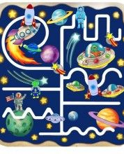 Outer Space pathfinder is brightly coloured and fun for children to develop  fine motor and pre-writing skills.