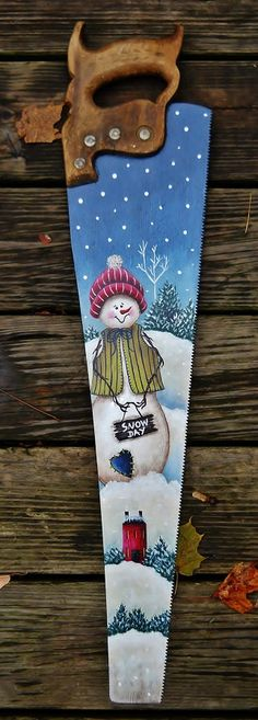 Hand Painted Saw Christmas Snowman Folk Art