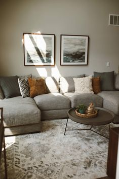 Living Room Update, Living Room Decor Cozy, Living Room Grey, Home Living Room, Living Room Ideas With Grey Couch, Small Livingroom Ideas, Living Room Ideas Townhouse, Living Room And Kitchen Together, Small Couches Living Room