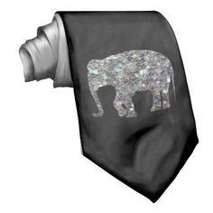 Sparkly colourful silver mosaic Elephant on Black Neck Tie by #PLdesign #SilverMosaic #ElephantGift