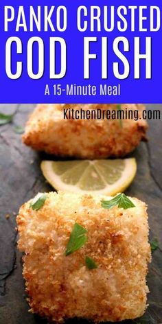 Panko Crusted Baked Cod Fish Panko Crusted Baked Cod Fish has a crunchy outer texture while still keeping the fish moist and flaky. - Panko Crusted Baked Cod Fish gives the fish a nice crunch while keeping the fish moist and flaky. Best Fish Recipes, Salmon Recipes, New Recipes, Cooking Recipes, Baked Cod Recipes Healthy, Easy Cooking, Cooking Oil, Easy Baked Fish Recipes, Cooking Games