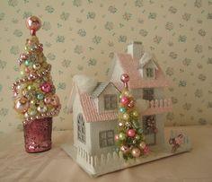 Shabby PINK Putz Style Cottage  Bottle Brush Tree by IllusiveSwan