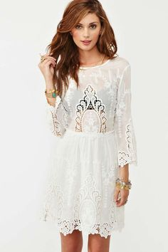 We Love this Valentina Crochet Dress from Nasty Gal.  Pair it with a chic statement necklace for a completely fab look! #chic #NightinWhite #cincychic nasti gal, fashion, rehearsal dinners, crochet dresses, cloth, style, white lace, valentina crochet, lace dresses