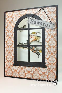Art Impressions' Air-Hag set (Sku#4309) front of Halloween witch window card.