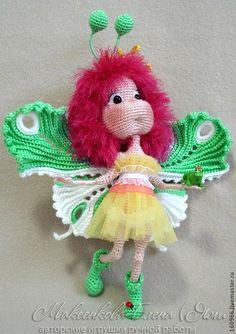 Купить Бабочка-капустница - бабочка, яркая игрушка, амигурурми, игрушки ЯМИ, елена макеенкова