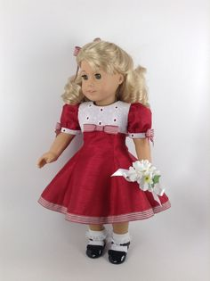 RESERVED - 1950's Dress, Petticoat, & Hair Ribbon for 18-inch American Girl Doll
