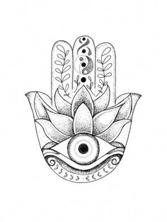 Hamsa- Depicting the open right hand, an image recognized and used as a sign of protection in many societies throughout history, the hamsa is believed to provide defense against the evil eye. - 3 sizes available - Frame is not included Hamsa Hand Tattoo, Hand Tattoos, Dotwork Tattoo Mandala, Hamsa Tattoo Design, Hamsa Art, Hamsa Design, Tatoos, Hamsa Drawing, Tatouage Main Hamsa