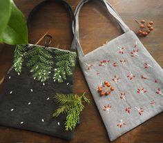 自然のモチーフを図案にして小さなバッグを作りました。#刺繍#手刺繍#手づくり#手仕事#ハンドメイド#バッグ#植物#木#実#赤#緑#冬#マカベアリス#冬#embroidery #embroideryart #handembroidery #handmade #botanical #winter #tree#red#green#alice_makabe