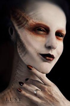 I really love the prosthetic ridges in the skin; ideas for Gorgon/Medusa face makeup.