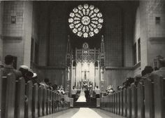 An interior image of St. Catherine Catholic Church during the marriage ceremony of Mary (Kustermann) Esser (b. Thomas Esser (b. Wedding Events, Weddings, Historical Society, Wisconsin, Catholic, January, Marriage, Mary, Valentines Day Weddings