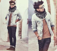 scarf, hair, sunglasses.