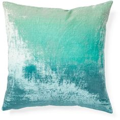 Turquoise Ombre Velvet Pillow ($72) ❤ liked on Polyvore featuring home, home decor, throw pillows, pillow, velvet throw pillows, ocean throw pillows, textured throw pillows, velvet accent pillows and modern home decor