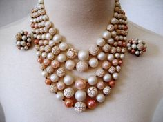 Fifties fivestrand bead necklace earrings pinks peach by posypower, $23.00