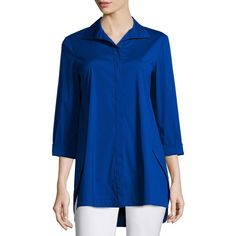 Lafayette 148 New York Marla Triangle-Seam Blouse ($390) ❤ liked on Polyvore featuring tops, blouses, cobalt, lafayette 148 new york, triangle tops, wrap top, blue blouse and form fitting tops