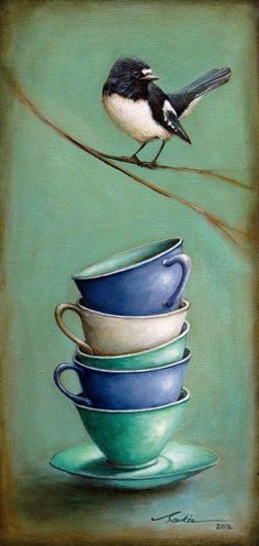 """Solitude"" by Santie Cronje  - Limited Edition Print (Bird Art, Tea cup)"