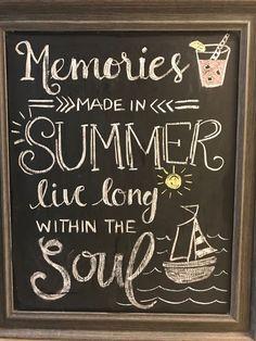 Summer Chalkboard Art - Chalk Art İdeas in 2019 Summer Chalkboard Art, Chalkboard Doodles, Chalkboard Art Quotes, Chalkboard Drawings, Chalkboard Lettering, Chalkboard Designs, Chalk Drawings, Chalkboard Paint, Chalkboard Ideas