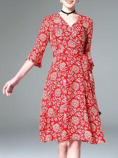 #AdoreWe #StyleWe Midi Dresses - Designer ELENYUN 3/4 Sleeve V Neck Casual Floral-print Floral Midi Dress - AdoreWe.com