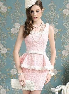 Pink Sleeveless Asian Fashion Lace Dress With A Frill At Waist & Flowers Details White Fashion, European Fashion, Pink Fashion, Asian Fashion, Fashion Dresses, Cozy Fashion, Dress Flower, Rose Dress, Pink Dress