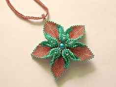 How to make Pendant! Beading Projects, Beading Tutorials, Beading Patterns, Seed Bead Jewelry, Bead Jewellery, Beaded Necklace Patterns, Beading Techniques, Handmade Beaded Jewelry, Jewelry Making Tutorials