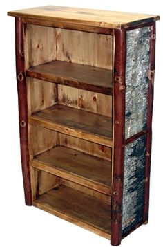 Big ole bookcase with five shelves plus the top. Rustic Bookcase, 5 Shelf Bookcase, Shelves, Bookcases, Old Hickory Furniture, Log Furniture, Rustic Crafts, Wood Crafts, Birch Bark