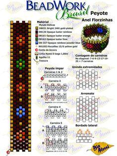Beadwork Brasil por Bia Alessi: Tutorial: Peyote: Anel Florzinhas - #Alessi #Anel #Beadwork #Bia #Brasil #Florzinhas #Japonesas #Peyote #por #Tutorial