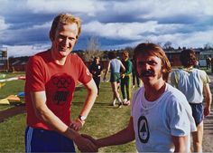 Race winner Steve Prefontaine with 2nd place finisher Finnish distance runner Rune Holmen, after both ran the 3000m in Madras, Oregon, May 4, 1975 | Flickr - Photo Sharing!