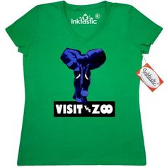 Inktastic WPA Poster Of Blue Elephant For The Zoo Women's V-Neck T-Shirt 1930s Bold Visit Graphic Depression Era Art Vintage Artwork Fun Funny Cute Cartoon Fanciful Animal Whales Cats Teddy Bears Fish Seahorses Clothing Apparel Tees Adult, Size: Medium, Green