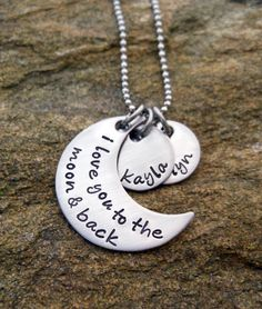 Personalized Necklace   I love you to the moon by TenSevenDesigns, $24.00