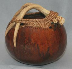 antler and pine needle gourd art | pine needles on a prepared gourd, capturing antler with pine needles ...