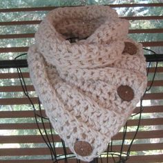 Cowl Scarf Crochet PATTERN Only...Buttoned by SplendourInTheGrass