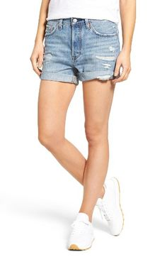 Free shipping and returns on Levi's® 501 Long Denim Shorts at Nordstrom.com. Levi's signature silhouette is cut and cuffed to create a definitive pair of vintage denim shorts with a longer inseam. Threadbare destruction lends worn-in appeal.