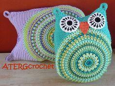 crochet pattern owl cushion by ATERGcrochet - 2 sizes -.