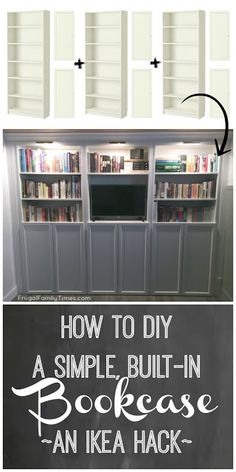 A DIY IKEA built in bookcase is an affordable and quite simple to build. Here is our step-by-step tutorial for how to make wall-to-wall bookshelves using whiteIKEA Billy bookcases. We used the Oxberg doors for hidden storage underneath. Also brass library Wall Bookshelves, Built In Bookcase, Billy Bookcases, Bookshelf Storage, Ikea Bookshelf Hack, Wall Shelves, Billy Bookcase With Doors, Decorate Bookshelves, Build Shelves