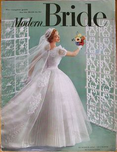 Modern Bride, 1954 Summer - Long live the bridal magazine! Bridal Skirts, Bridal Gowns, Wedding Gowns, Vintage Wedding Photos, Vintage Bridal, Vintage Weddings, Wedding Dress Trends, Wedding Attire, Wedding Outfits