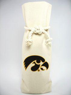 University of Iowa 1 Bottle Canvas Tote